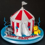 Circus Big Top tent cake with wild animals