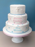 Pink and blue Christening cake for a brother and sister