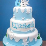 Frozen theme birthday cake with Sven on top.