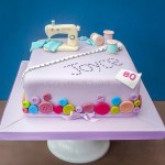 80th birthday Sewing machine cake