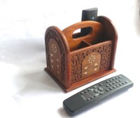 Wooden remote control holder with brass inlaid detail ...