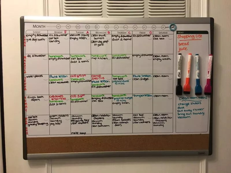 Get Your Family Organized Whiteboard Family Chore Chart