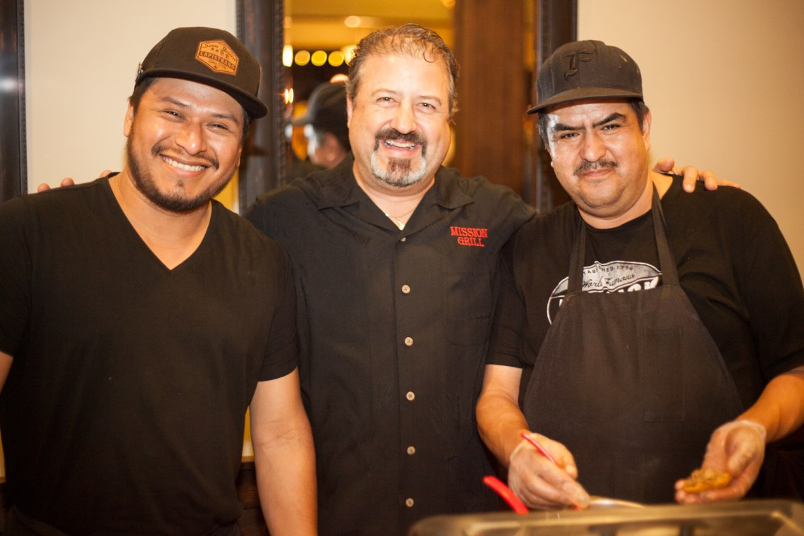 (Left to Right) From Mission Grill, cook Felix Cruz, owner John Gillotti and chef Juan Frireis. Photo: Alex Paris