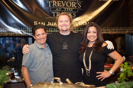 (Left to Right) From Trevor's at the Tracks, Robert Hernandez, beverage director; owner Trevor Baird; and Limela, director of sales. Photo: Alex Paris