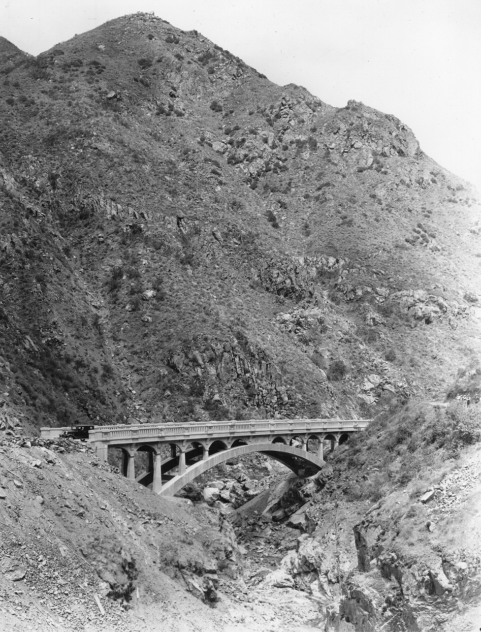 A car traverses a bridge along Ortega Highway in this photo from the Willard Smith Collection, circa 1930. Photo: Courtesy of Orange County Archives.