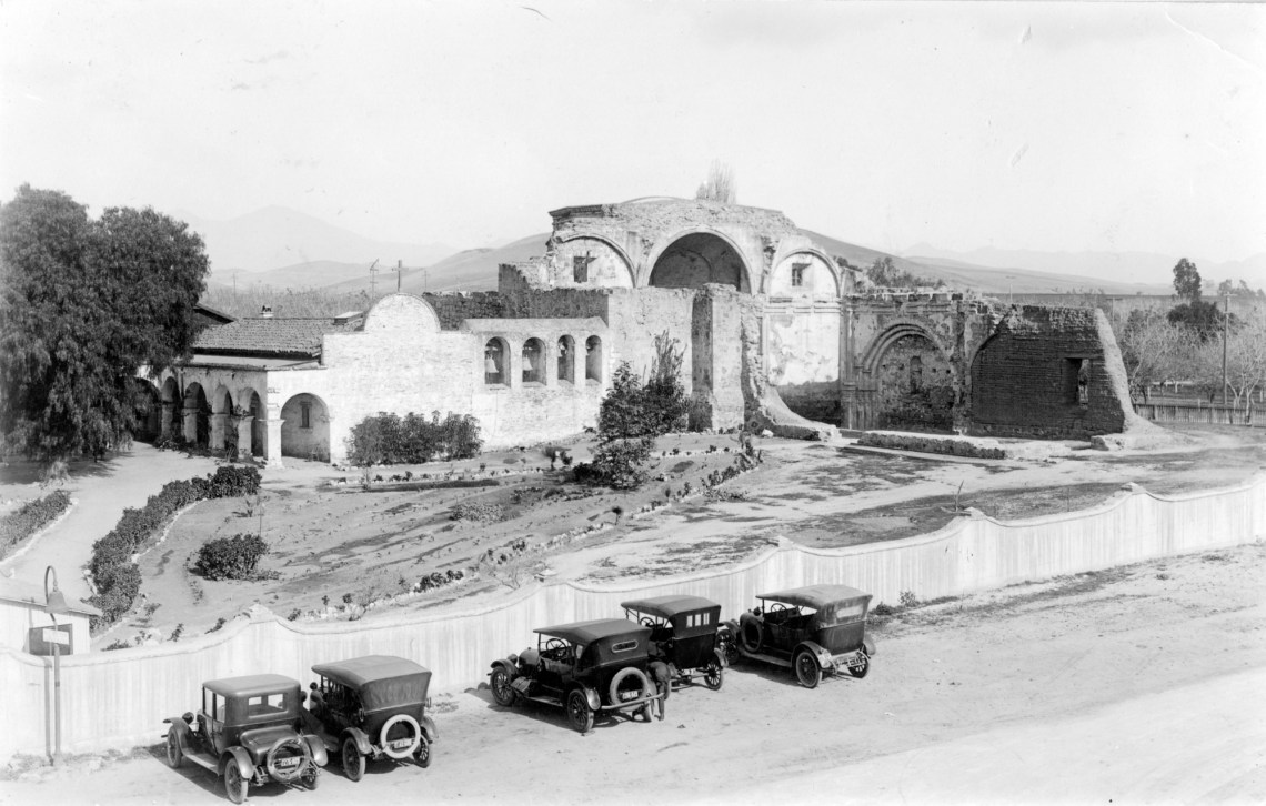 Mission San Juan Capistrano can be seen from above in this photo from the Tom Pulley Postcard Collection, circa 1920. Photo: Courtesy of Orange County Archives.