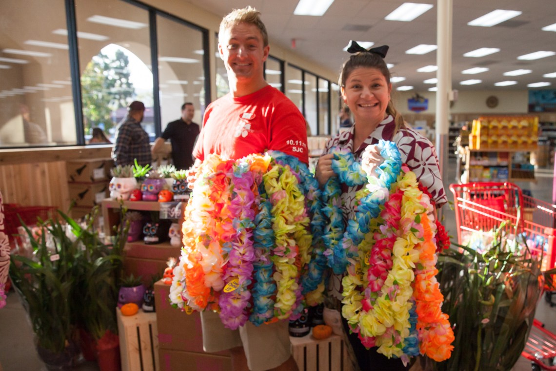 Trader Joe's crew members prepare to hand out leis. Photo: Allison Jarrell