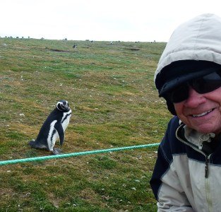 Tom Blake takes a selfie with a penguin in Ushuaia, Argentina. Photo: Courtesy