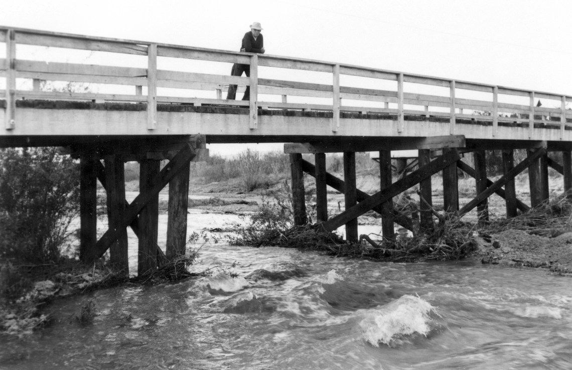Water rushes along San Juan Creek at Ganado Drive in this photo from March 1958.