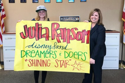 "San Juan Hills High School student Julia Ransom (left), who was named a ""Shining Star"" by the Disneyland Dreamers and Doers program, next to Principal Jennifer Smalley (right). Photo: Courtesy of SJHHS"