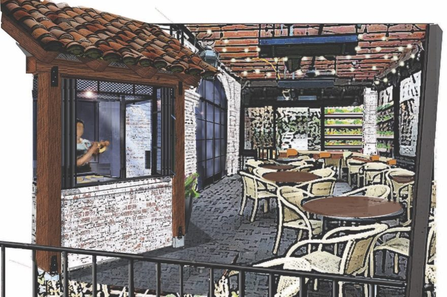 A rendering of the patio of Bueno Bueno Mexican Kitchen. Photo: Courtesy of Sundried Tomato