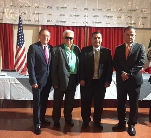 San Juan Capistrano Mayor Sergio Farias (second right) with Ensenada, Mexico representatives. Photo; Courtesy of Sergio Farias