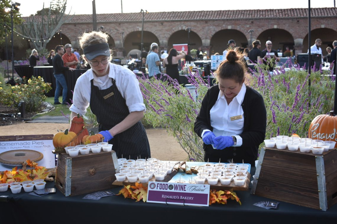 Volunteers for Renaud's Bakery shell out pumpkin pie at the 22nd Annual Vintage Food & Wine Festival on Saturday, Oct. 6. Photo: Alex Groves