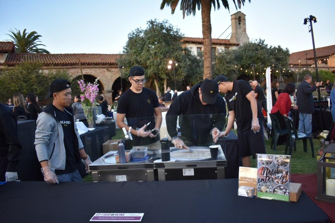 Visitors to The Vintage Food & Wine Festival this year could get ice cream rolls from Rolling Deep Ice Cream. The ice cream is spread out over a cold tray then curled into rolls. Photo: Alex Groves
