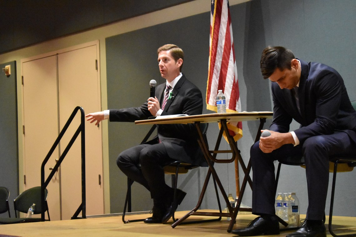 Mike Levin speaks during a forum on mental health and opioid addiction on Friday, Oct. 5, at the San Juan Capistrano Community Center. Photo: Alex Groves