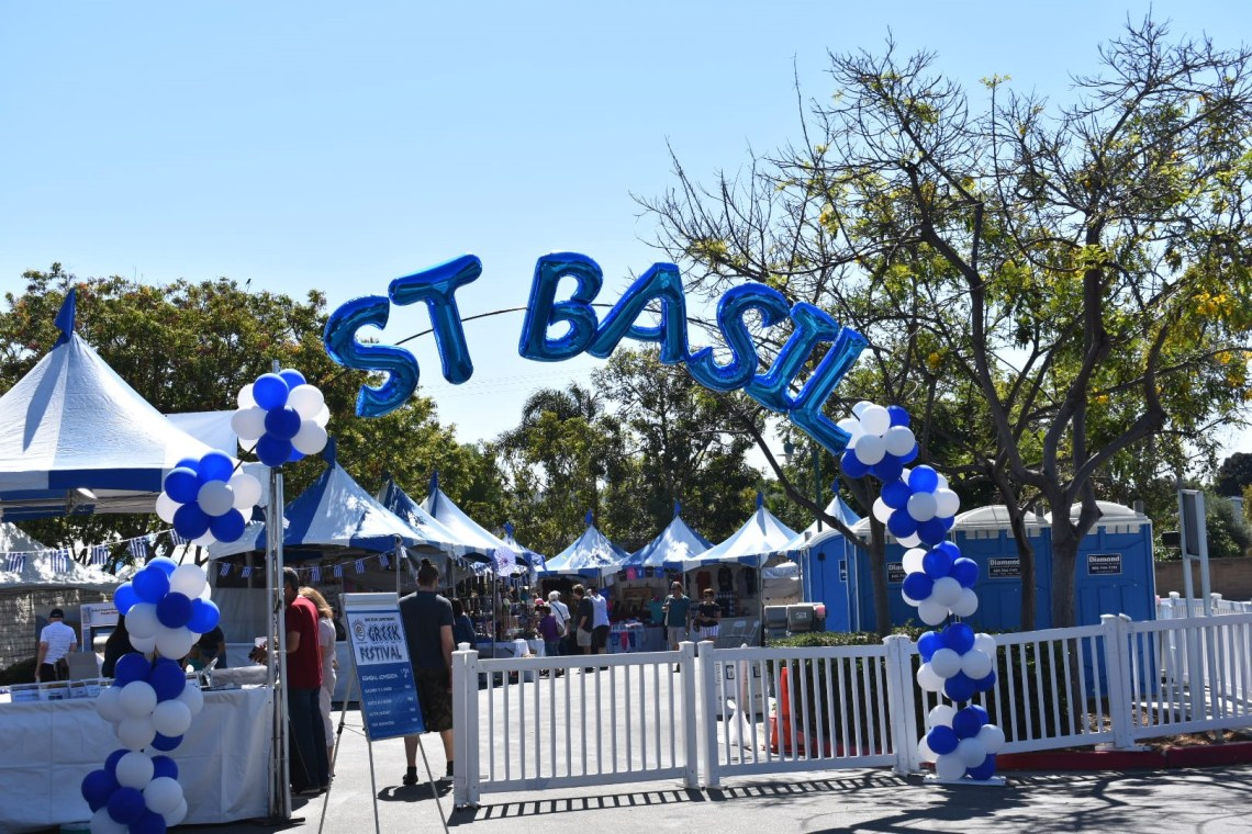 "White and blue balloons spelling out ""St. Basil"" welcome visitors to the San Juan Capistrano Community Center for the 2018 San Juan Capistrano Greek Festival. Photo: Alex Groves"