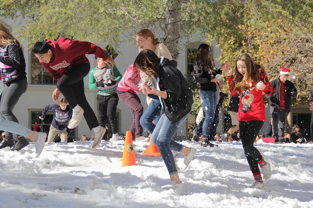 JSerra students dodge snowballs being hurled at them. Photo: Shawn Raymundo