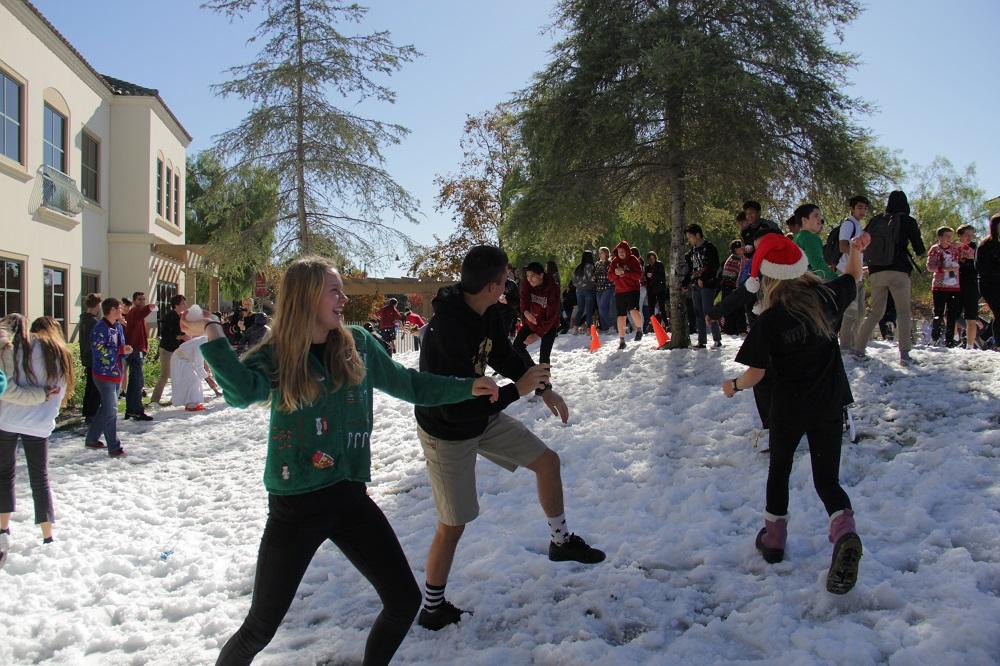 JSerra students prepare to lob snowballs at their fellow classmates. Photo: Shawn Raymundo