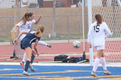 Isabella D'Aquila scores for JSerra girls soccer over San Juan Hills in the CIF-SS Division 1 quarterfinals. Photo: Zach Cavanagh