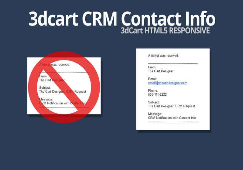 3dcart CRM Customer Email CRM Notification Customer Email 3dcart