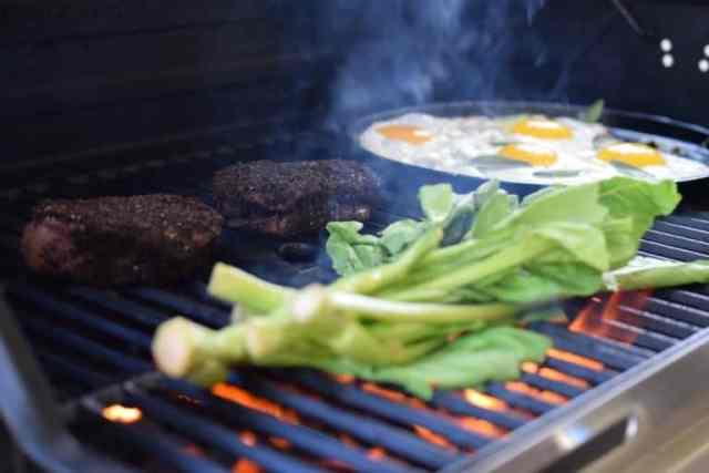Kona Crusted Steak & Sage Fried Eggs… on the Grill!