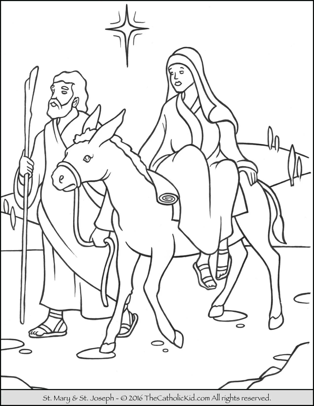 Mary joseph to bethlehem advent coloring page