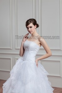 Elegant Strapless Beaded A-Line Chapel Train Wedding Dress ...