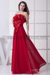 Long Red Strapless Evening Formal Dress Prom Gown ...