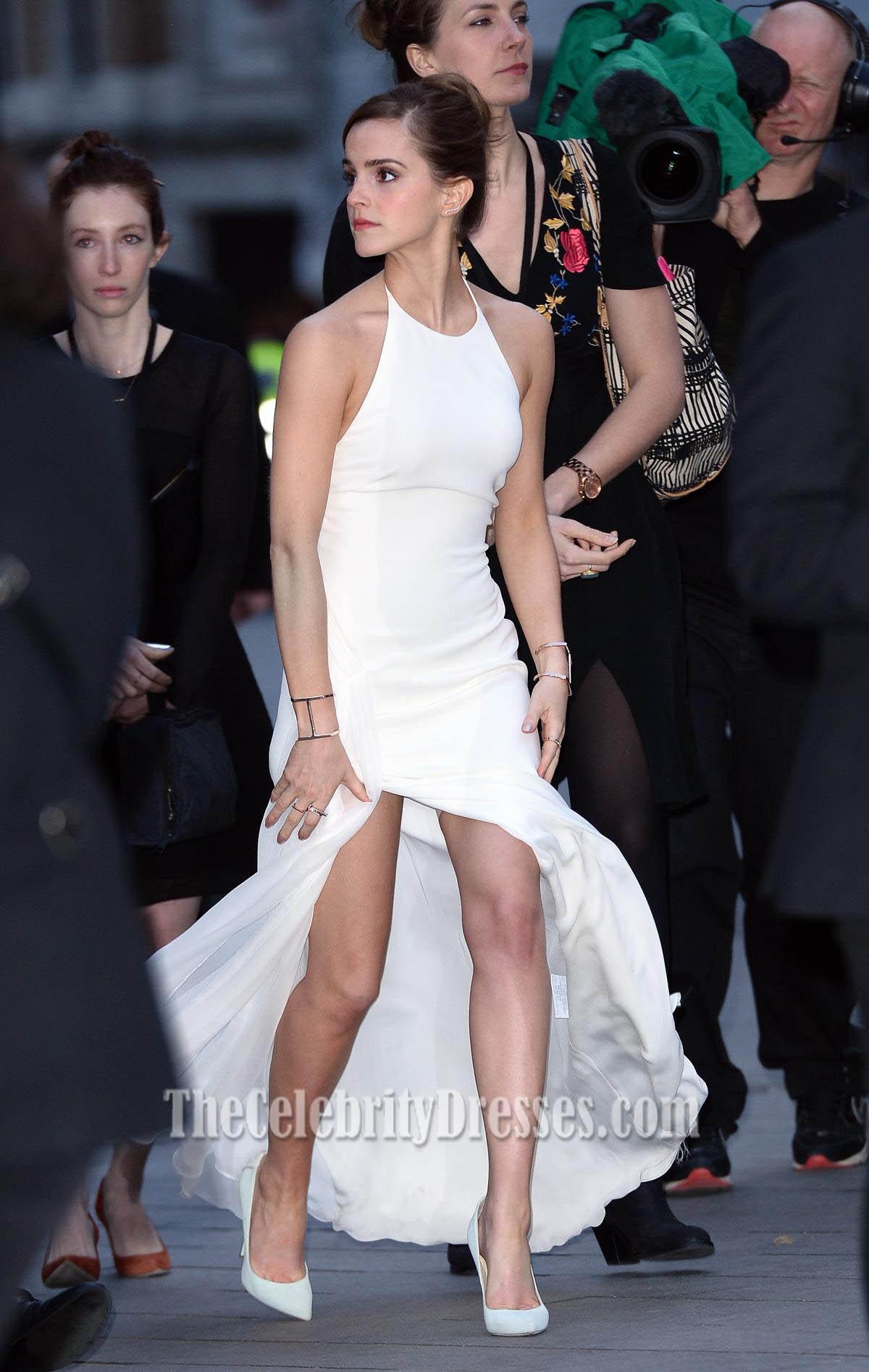 Emma watson white halter prom dress noah premiere thecelebritydresses