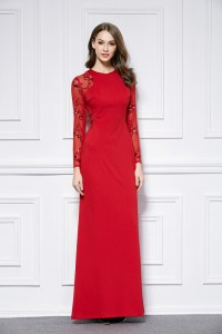 Red Floor Length Long Sleeve Evening Dress Prom Gown