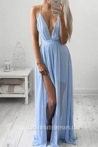 Sexy Low Cut Sky Blue Evening Gown Prom Dress With A High ...
