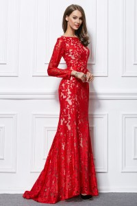 Trumpet Mermaid Red Lace Long Sleeve Formal Evening