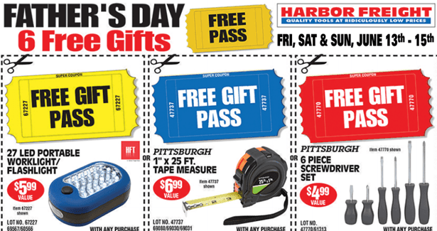 Harbor freight 6 free items for father s day with purchase the