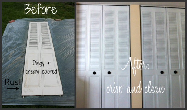 Spray paint closet door makeover for 21 centsible life for How to spray paint doors