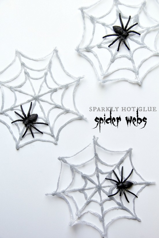 Sparkly Hot Glue Spider Webs for Halloween