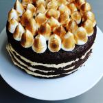 Peanut Butter Chocolate Porter Cake - A rich chocolate cake infused with a dark porter flavour, sandwiched between layers of creamy peanut butter frosting and all topped with fluffy clouds of meringue. I love this cake because the sweet and the salty and rich flavours all complement each other to make a peanut butter lovers' dream!