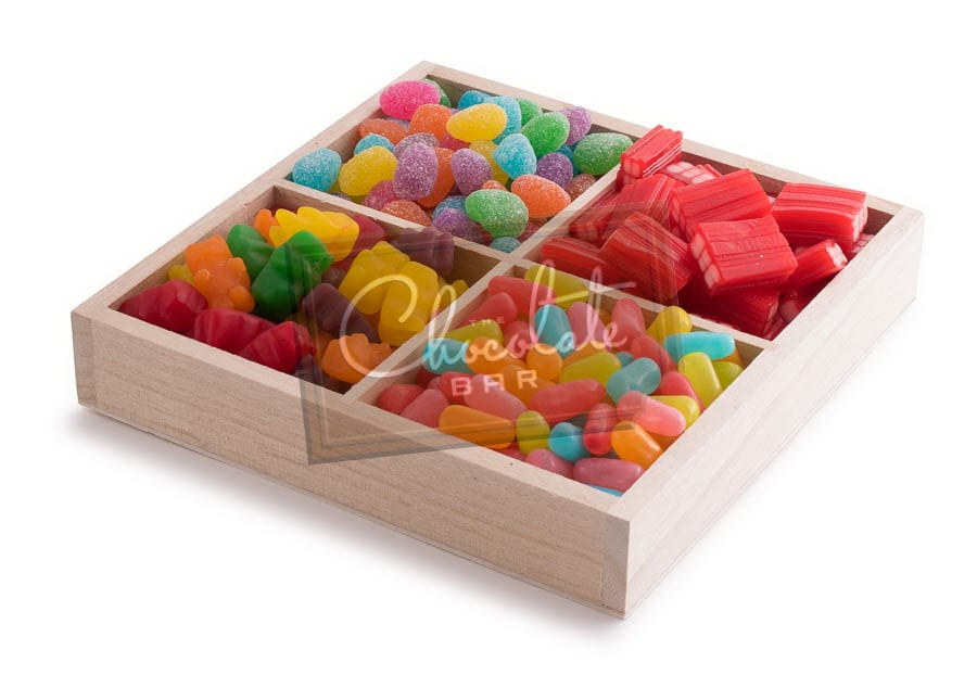4 Sectional Assorted Candy Wooden Gift Tray The