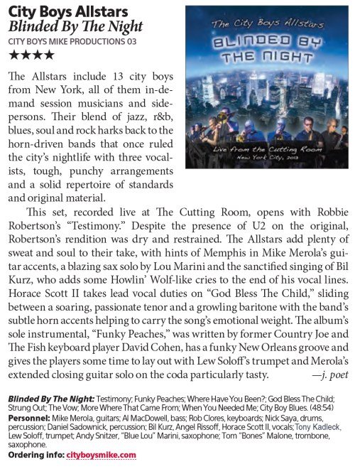 The City Boys All Stars - Downbeat Magazine 4- star Review
