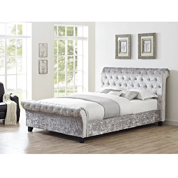Celine King Bed Frame Silver The Clearance Zone
