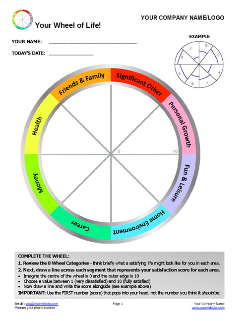 UPDATED* FREE Wheel of Life Template with Instructions Coaching