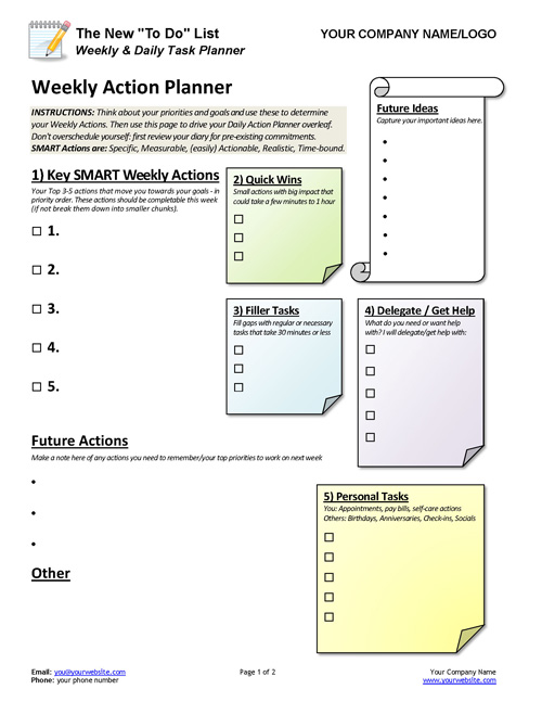 New To Do List - Weekly Daily Task Planner Coaching Tools from The