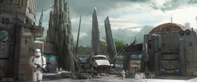 Nunca antes en la historia de los parques Disney se había llevado cabo una expansión tan grande. Boceto: Disney/Lucasfilm