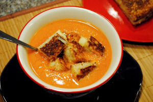 Tomato Soup with Pesto Grilled Cheese Croutons