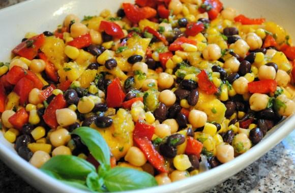 Corn and Black Bean Salad with Basil Lime Vinaigrette