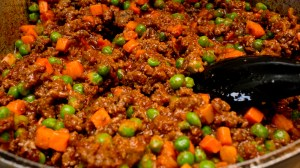 meat and veggies for Shepherd's Pie