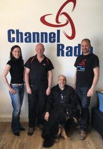 Studio picture of Laura & Russell with guests Steve Holman, Stuart Kenny and Sky the trained search dog from Kent Search & Rescue.