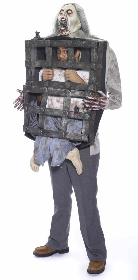 Zombie Carrying Man In Cage Costume