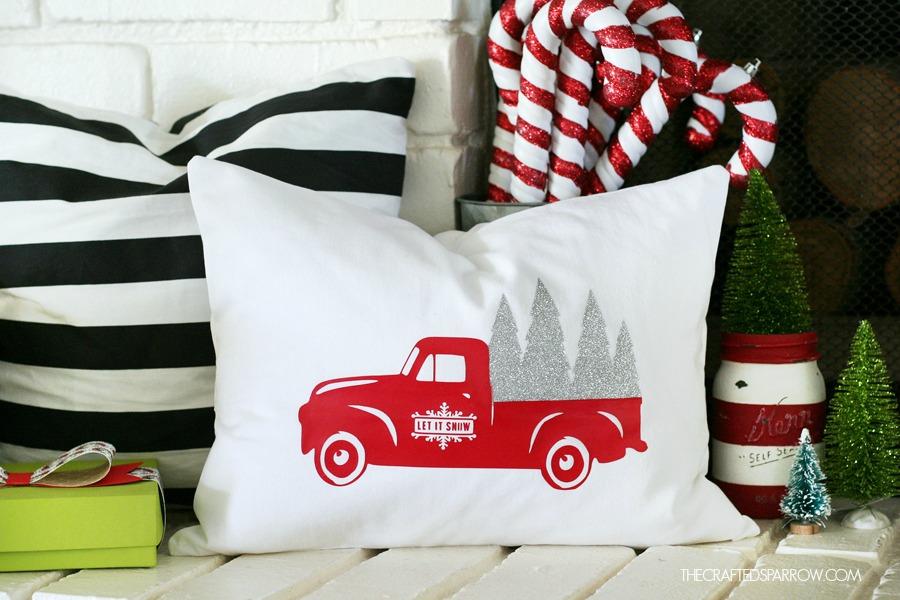 Truck Christmas Pillow - decorative christmas pillows