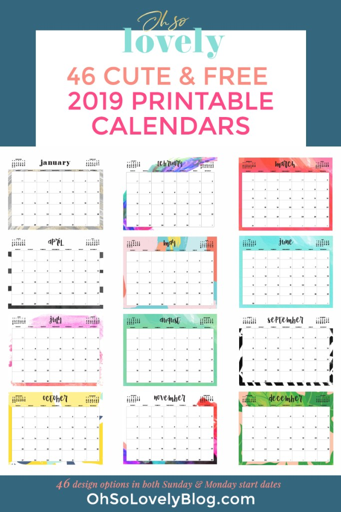 The Best 2019 Free Printable Calendars - thecraftpatchblog