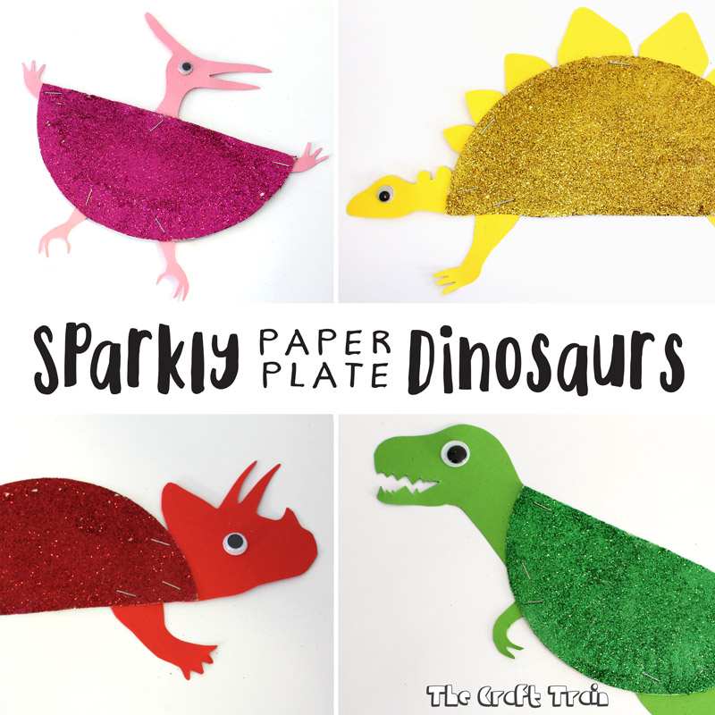 Sparkly Paper Plate Dinosaurs The Craft Train